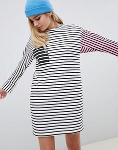 Трикотажное платье в полоску колор блок ASOS DESIGN - Мульти
