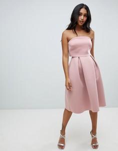 4975671f2347c9f Платье-бандо миди для выпускного с укороченным лифом ASOS DESIGN -  Коричневый