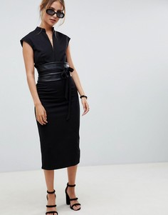 Платье-футляр миди с поясом оби из искусственной кожи ASOS DESIGN - Черный