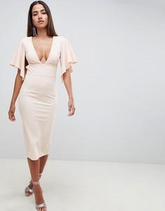 Платье миди с глубоким вырезом и короткими рукавами ASOS DESIGN - Мульти