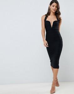 Бандажное облегающее платье миди с V-образным разрезом ASOS DESIGN - Черный