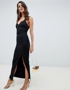 Платье макси с вырезом в форме сердца и разрезом ASOS DESIGN - Черный