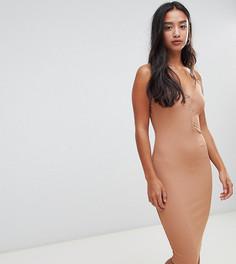 Платье миди в рубчик с пуговицами Boohoo Petite - Бежевый