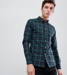 Зеленая приталенная рубашка в клетку ASOS DESIGN Tall - Темно-синий