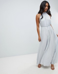 Платье макси с высоким воротом и плиссировкой ASOS DESIGN - Серый