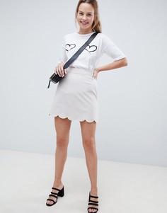 Мини юбка-трапеция с фигурным краем ASOS DESIGN - Серый