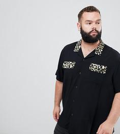 Рубашка из вискозы с отложным воротником и леопардовым принтом ASOS DESIGN Plus - Черный