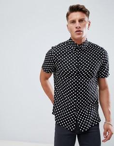 Черная рубашка классического кроя с принтом в горошек ASOS DESIGN - Черный