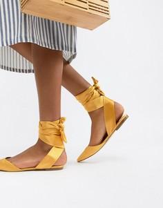 Балетки с острым носком и завязками ASOS DESIGN Libbie - Желтый