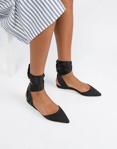 Балетки с острым носком и завязками ASOS DESIGN Libbie - Черный