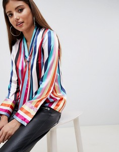 Блузка в полоску с глубоким вырезом и бантом ASOS DESIGN - Мульти