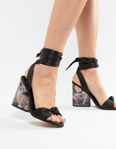 Босоножки на каблуке с узелками ASOS DESIGN Hazy - Черный