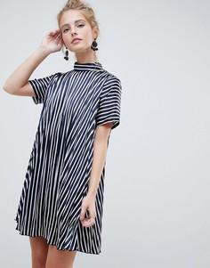 Платье мини в полоску со складками ASOS DESIGN - Мульти
