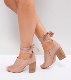 Туфли на каблуке для широкой стопы с завязками ASOS OMEN - Бежевый