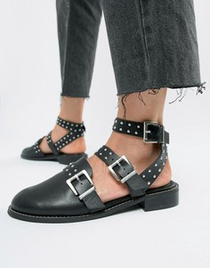 Туфли на плоской подошве с отделкой заклепками ASOS DESIGN Mews - Черный