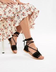 Замшевые сандалии с заклепками и завязкой ASOS DESIGN Foster - Черный