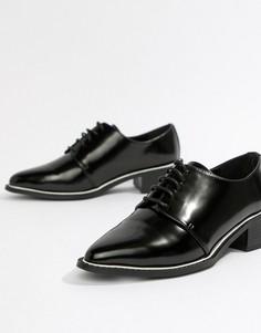 Туфли на плоской подошве со шнуровкой и острым носком ASOS DESIGN Mina - Черный