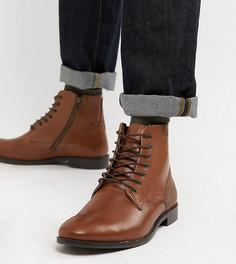 Светло-коричневые кожаные ботинки для широкой стопы со шнуровкой ASOS - Рыжий