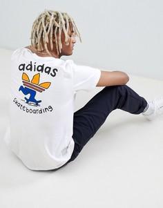 Белая футболка с принтом на спине adidas Skateboarding DH3934 - Белый