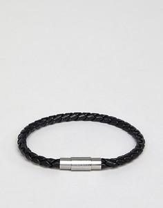 Черный кожаный плетеный браслет Boss Blaine - Черный