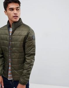 Зеленая стеганая куртка с воротником-стойкой Burton Menswear - Зеленый