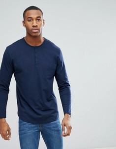 Темно-синяя свободная футболка с длинными рукавами и воротником на пуговице ASOS DESIGN - Темно-синий