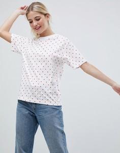 Белая oversize-футболка в горошек Monki - Мульти