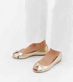 Балетки для широкой стопы с открытым носком ASOS DESIGN Leeva - Золотой