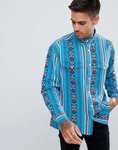 Рубашка в стиле вестерн классического кроя с ацтекским узором ASOS DESIGN - Синий