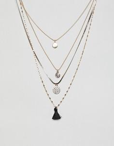 Длинное ожерелье с подвесками и кисточками ALDO - Золотой