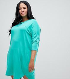 Платье-футболка в стиле оверсайз с отделочными швами ASOS CURVE - Зеленый