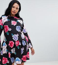 Короткое приталенное платье с цветочным принтом Praslin - Мульти