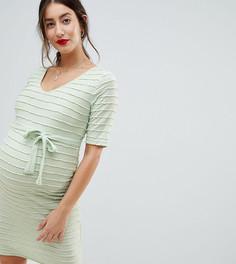 Платье А-силуэта в рубчик Mamalicious - Кремовый Mama.Licious