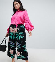 Широкие брюки с цветочным принтом Junarose - Мульти
