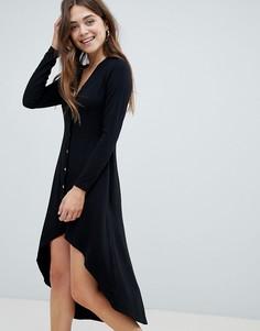 Платье миди на пуговицах с асимметричным краем ASOS DESIGN - Черный