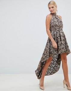 Кружевное платье металлик с асимметричным краем Forever Unique - Золотой