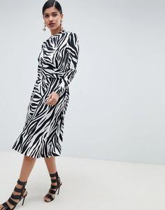 Платье миди с принтом зебры и высоким воротником ASOS DESIGN - Мульти