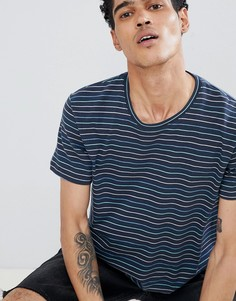 Темно-синяя футболка в тонкую полоску Esprit - Темно-синий