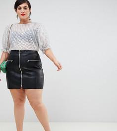 a02458af56b Черная мини-юбка из искусственной кожи на молнии River Island Plus - Черный