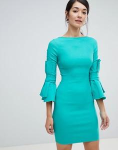 Платье-футляр с бантиками на рукавах Vesper - Зеленый