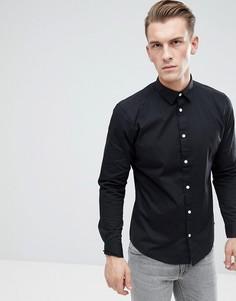 Черная облегающая рубашка из хлопкового поплина Esprit - Черный