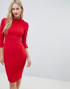 Платье-футляр миди с рукавами 3/4 и отделкой со складками City Goddess - Красный