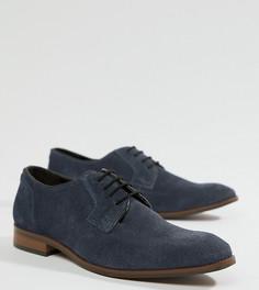 Темно-синие замшевые туфли со шнуровкой Dune Wide Fit - Синий