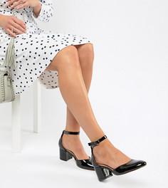 Туфли для широкой стопы на блочном каблуке London Rebel - Черный