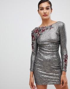 Платье с длинными рукавами и пайетками Little Mistress - Коричневый