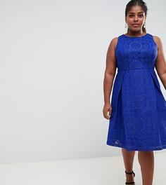 Кружевное короткое приталенное платье Lovedrobe - Синий