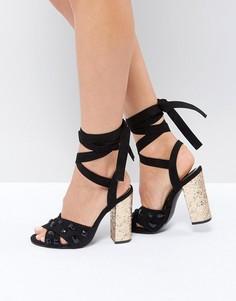 Босоножки на блочном каблуке с завязками Truffle Collection Glitz - Черный