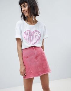 Джинсовая юбка с карманами Pieces - Розовый