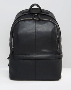 Кожаный рюкзак ASOS DESIGN harvard - Черный