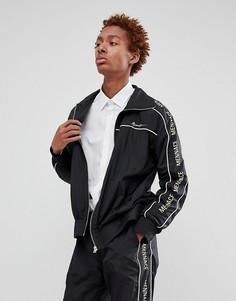 Черная спортивная куртка с фирменной полосой по бокам Mennace - Черный